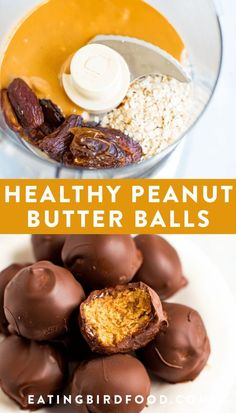 healthy peanut butter balls with only 5 simple ingredients: peanut butter, oats, dates, chocolate and coconut oil! No powdered sugar or butter needed. These peanut butter balls are dairy-free, gluten-free and vegan! Peanut Butter Snacks, Homemade Peanut Butter, Peanut Butter Balls, Healthy Peanut Butter, Healthy Vegan Dessert, Healthy Drinks, Healthy Snacks, Nutrition Drinks, Healthy Nutrition