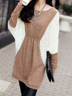 Cute Loose Jersey Dress with Batwing Sleeves