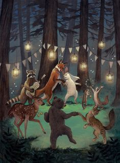 Woodland Wedding – Save the Date Illustration de Rebecca Solow Art And Illustration, Woodland Illustration, Fuchs Illustration, Fantasy Kunst, Fantasy Art, Save The Date Illustrations, Art Fantaisiste, Dancing Animals, Art Mignon