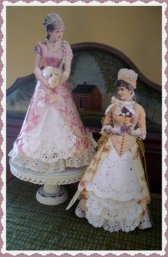 Crocheted doll clothes and vintage-inspired creations by CloudNineAdornments Set of 2 Victorian Lady Paper Doll Table Decorations Victorian Paper Dolls, Vintage Paper Dolls, Vintage Crafts, Collages, Dress Card, Paper Ornaments, Crochet Doll Clothes, Victorian Christmas, Valentine Decorations