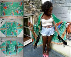 scarf to kimono diy #fringe