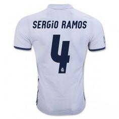 Real Madrid 16-17 Sergio Ramos 4 Hemmatröja Kortärmad  #Fotbollströjor