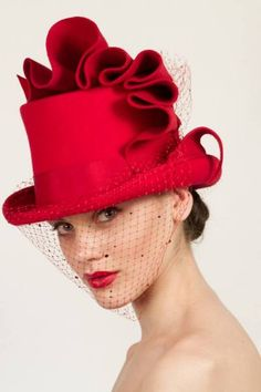 Loving this red top hat!  Georgina Heffernan Millinery -A/W 2013