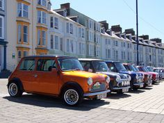 Classic Minis on Aberystwyth Seafront