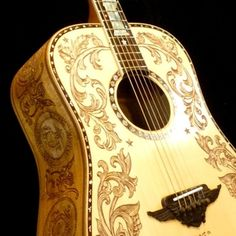 """Custom-made acoustic dreadnought guitar with """"Patriot"""" motif hand-carved artistic decorations on the body, neck and headstock. Loreena Mckennitt, Unique Guitars, Guitar Painting, Sound Of Music, Playing Guitar, Paint Designs, Acoustic Guitar, Blueberry, Music Instruments"""