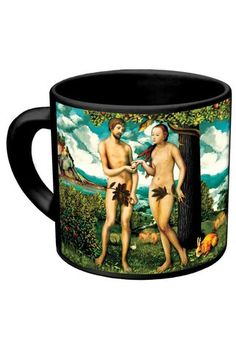 Unemployed Philosophers Guild Adam & Eve Disappearing Fig Leaf Mug