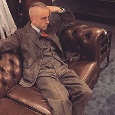 @stefankayat relaxing in the chesterfield sofa wearing a 1939 three piece tweed suit.  #vintage #mensvintage #dapper #dandy #tweed #tweedsuit #threepiecesuit #vintagesuit #menswear #mensstyle #mensfashion #mensvintage #mensvintagesuit #1930s #1930ssuit #chesterfieldsofa