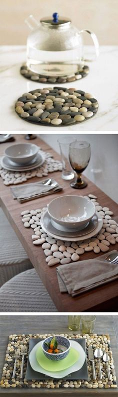 Neat With their natural color and unique shape you can easily create a stylish design with pebbles adding texture and contrast to your decor. #river_rock #pebble_decoration #DIY_with_pebbles ..