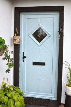 Painted PVC door (previously red) using Farrow & Ball Pavilion Gray Exterior Eggshell 242