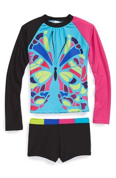 Limeapple 'Montego' Long Sleeve Rashguard Two-Piece Swimsuit (Little Girls & Big Girls) available at #Nordstrom