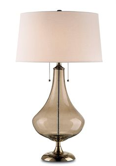 Courtier Table Lamp - smoke glass table lamp. Bubbles in the glass add to the charm. The shade is round bone linen - beautiful