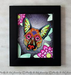 A lovely print of an original design made by Cali (owner and artist of Pretty In Ink Jewelry) featuring an adorable German Shepherd in her
