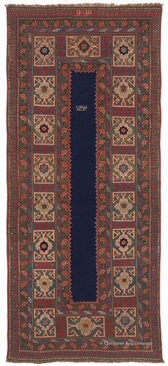New Addition to the Bostonian Collection:   Karadagh, 3ft 4in x 7ft 8in, Late 19th Century.  A dramatic, overscale interpretation of the elegant Kufic border traditional to the antique rugs of the nearby Caucasus Mountains creates intense graphic energy in this incredibly innovative 19th century tribal rug in the seldom encountered Persian Karadagh style.