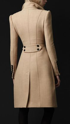 Someday I will own one of these amazing coats- Crêpe Wool Tailored Coat by Burberry Winter Coats Women, Coats For Women, Clothes For Women, Fall Coats, Mode Outfits, Fashion Outfits, Womens Fashion, Fashion Trends, Look Fashion