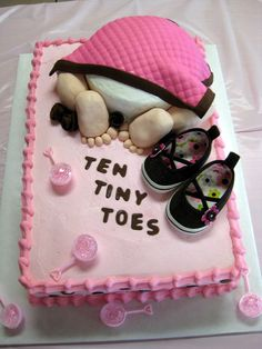 Baby girl shower cake. but i wuld like pink, brown, and green