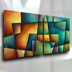 Lang Painting Abstract Contemporary Modern Geometric Original Art Unique Signed #Abstract