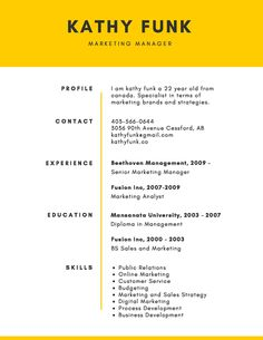 Replace that outdated resume with one of our corporate templates. Display impressive accomplishments on professional templates you can personalize. Simple Resume Template, Resume Design Template, Resume Templates, Free Resume, Sample Resume, Marketing, Education, Yellow, University