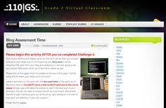 This is a Class blog for a Grade 7 class.  The teacher publishes posts on the class blog and the students complete the tasks on their student blogs.  Links under blogrolls are to the student blogs.  These students are currently participating in the student blogging challenge & this post is a good example of how the teacher guides the students in the challenge - http://110gs.edublogs.org/2013/10/21/blog-challenge-week-6-our-world/