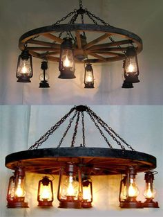 Wheel-n-Lantern Chandelier - Western Decor - Can find these types of lanterns in. Wheel-n-Lantern Chandelier - Western Decor - Can find these types of lanterns in IKEA. Love this for my craft room. Lantern Chandelier, Rustic Chandelier, Rustic Lighting, Chandelier Wedding, Wheel Chandelier, Chandelier Lighting, Lighting Ideas, Western Decor, Country Decor