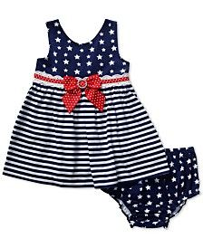 Sweet Heart Rose pairs an adorable stars & stripes dress with a matching… Baby Girl Christmas Dresses, Little Girl Dresses, Girls Dresses, Baby Boy Outfits, Kids Outfits, Baby Dress Design, Nautical Dress, Frocks For Girls, Cotton Frocks