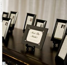 Meet the Bridal Party- Guests will be able to get to know your bridal party. Frame the following: a photo, how you met, why you chose them... or maybe share a funny memory, then display at the reception.