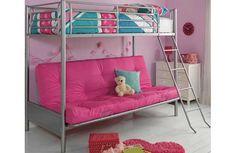 Buy Argos Home Metal Bunk Bed, Fuchsia Futon & Kids Mattress Kids Mattress, Futon Bunk Bed, Metal Bunk Beds, Buy Metal, Childrens Beds, Argos, Kid Beds, Bed Frame, Dorm Room