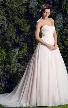 Romantic Ball Gown Strapless Court Train Glitter Tulle Wedding Dress Prom?