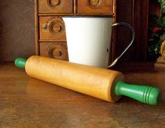 Vintage Maple Rolling Pin Green Handle by cynthiasattic on Etsy, $24.00