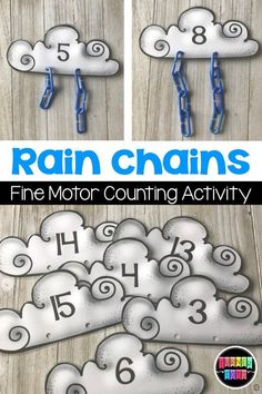 Rains Chains Counting Activity Add Blue Chain Links To The Clouds For A Fun Fine Motor Math Activity Or Center. Weather Activities Preschool, Preschool Lessons, Spring Activities, Preschool Classroom, Preschool Learning, Kindergarten Activities, Science Activities, Preschool Activities, Science Education