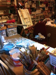 Katie Kendrick's work space - gladdens my heart to see yet another way in which we're so much alike, lady!