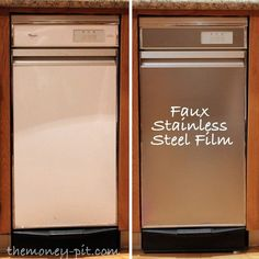 Apply stainless steel contact paper to outdated appliances.