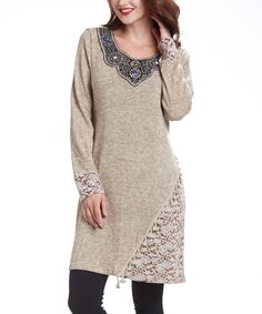 Look at this Simply Couture Beige Embellished Tunic on #zulily today!