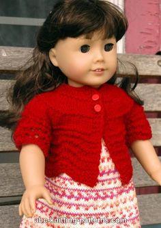 ABC Knitting Patterns - American Girl Doll Hamptons Summer Cardigan