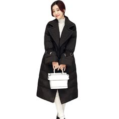 58.24$  Buy now - Cool Retro Chic Women Black Army Green Winter Coat Long Warm Belted Sleeve Drawstring Waist Outwear Jacket Maxi Coat Parka XH534  #aliexpress