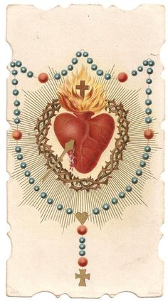 Sacred Heart Crown of Thorns & Rosary Antique French Holy Prayer Card, Catholic Gift Catholic Gifts, Catholic Art, Heart Crown, Beautiful Prayers, Mary I, Heart Of Jesus, Crown Of Thorns, Prayer Cards, Holy Ghost