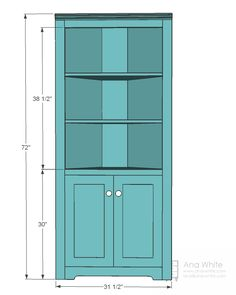 Corner Bookcase Plans   ... it's a no brainer to modify the corner cupboard to be a little wider