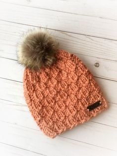 0cfdfcac7e3 Adult Chunky Hand Knit Coral Pecans Winter Toque with detachable Faux Fur  Pom