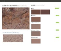 Juparana Bordeaux. Granite Collection . Natural stone slabs. Daltile. Behr. Olympic. Benjamin Moore. Sherwin Williams. Valspar Paint.  Click the gray Visit button to see the matching paint names.