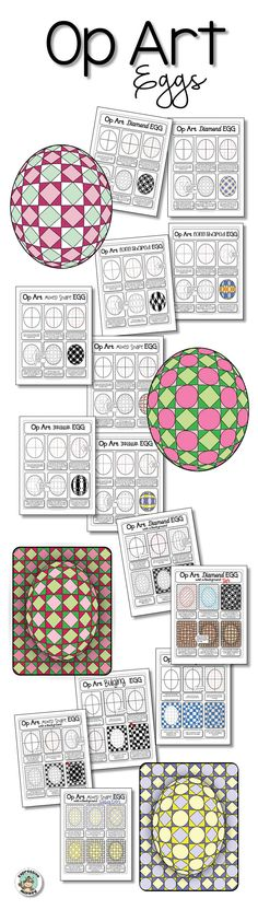 Don't let the pretty eggs fool you! This lesson is rich in art concepts and cross-curricular connections! Op Art, 7th Grade Art, Middle School Art Projects, Art Worksheets, Cool Art Projects, Easter Art, Art Lessons Elementary, Spring Art, Cross Curricular