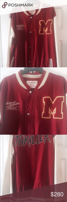 "Michael Jackson limited varsity jacket Michael jackson limited edition varsity jacket THRiLLER ""THIS IS IT"" use like new worn twice color cream beige and red size XL michael jackson clothing Jackets & Coats Bomber & Varsity"