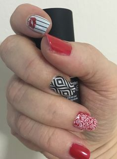 Mixing it up with Jamberry Candy Apple Trushine gel, White Romance, Lava Lamp and S.W.A.K wraps