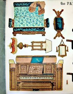 Paper Model Cut Out Paper Parlor 1892 Furniture Victorian Dollhouse Furniture Die Cut. Paper Doll House, Paper Houses, Paper Furniture, Doll Furniture, Victorian Dollhouse Furniture, Dollhouse Accessories, Vintage Paper Dolls, Paper Toys, Cardboard Paper