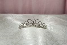 Bridal Crystal Mini Tiara Comb with a Rhinestone Diamond Shaped Center