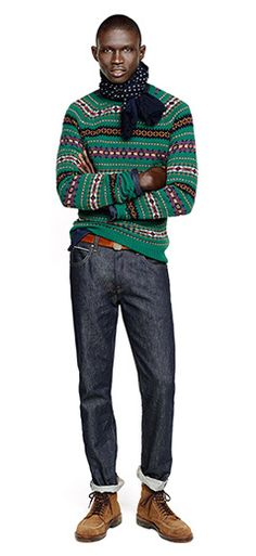 J.Crew Fall/Holiday 2013 Lookbook *love this printed green sweater against the dark blue jeans. & brown boots...take off the scarf!