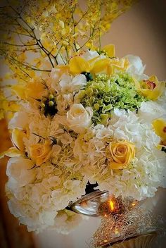 """"""" Spring Bouquet in Yellows and Greens ~ Beautiful! Wedding Table Centerpieces, Floral Centerpieces, Floral Arrangements, Wedding Decorations, Centrepieces, Flower Arrangement, Deco Floral, Arte Floral, Floral Design"""