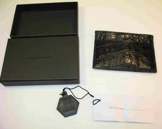 SANTIAGO GONZALEZ CROCODILE CARD CASE WALLET-in BLACK.Nancy Gonzalez...MSRP $295