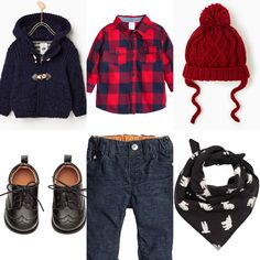 Baby boy day off outfit idea. Red checkered shirt, dark blue trousers, navy coat, black bandana, red hat, black shoes. H&M and Zara 2016 winter collection.