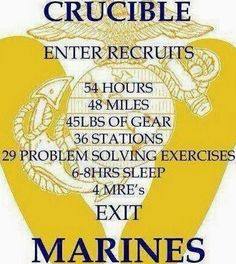 of Gear 36 Stations 29 Problem Solving Exercises Sleep 4 MRE's Exit MARINES Once A Marine, Marine Mom, Us Marine Corps, Marine Quotes, Usmc Quotes, Military Quotes, Qoutes, Problem Solving Exercises, Marines Boot Camp