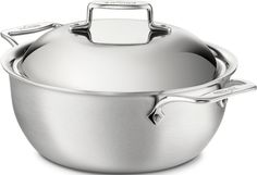All-Clad BD55500 D5 Brushed 18/10 Stainless Steel 5-Ply Bonded Dishwasher Safe Dutch Oven with Domed Lid Cookware, 5.5-Quart, Silver >>> Find out more details by clicking the image : Dutch Ovens