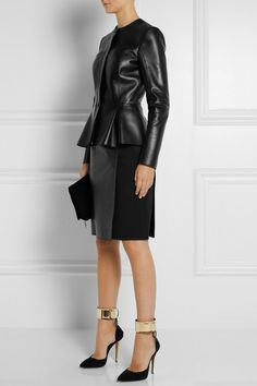 FENDI Matte-leather and twill pencil skirt